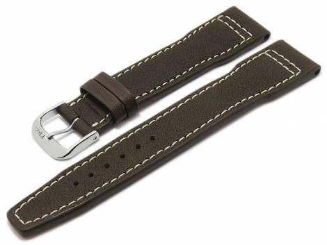 BIO leather watch strap -Sonthofen- 20mm dark brown grained aviator look light stitching by RIOS (width of buckle 18 mm) - Bild vergrößern
