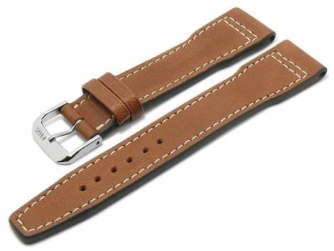 BIO leather watch strap -Sonthofen- 22mm ligh brown grained aviator look light stitching by RIOS (width of buckle 18 mm) - Bild vergrößern
