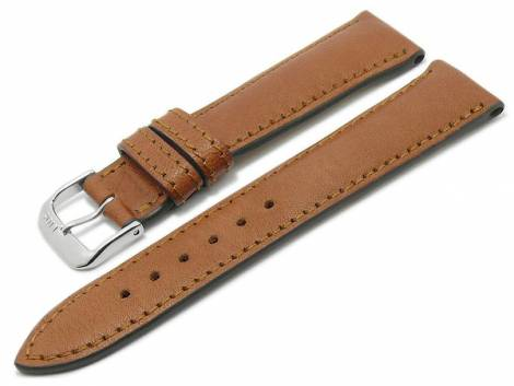 BIO leather watch strap -Garmisch- 18mm light brown grained stitched by RIOS (width of buckle 16 mm) - Bild vergrößern