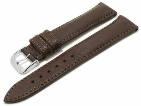 BIO leather watch strap -Garmisch- 18mm dark brown grained stitched by RIOS (width of buckle 16 mm) - Bild vergrößern