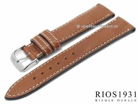 BIO leather watch strap -Weilheim- 22mm light brown smooth light stitching by RIOS (width of buckle 18 mm) - Bild vergrößern