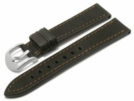 BIO leather watch strap -Tegernsee- 24mm dark brown grained stitched by RIOS (width of buckle 22 mm) - Bild vergrößern