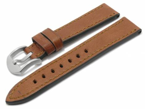 BIO leather watch strap -Tegernsee- 24mm light brown grained stitched by RIOS (width of buckle 22 mm) - Bild vergrößern