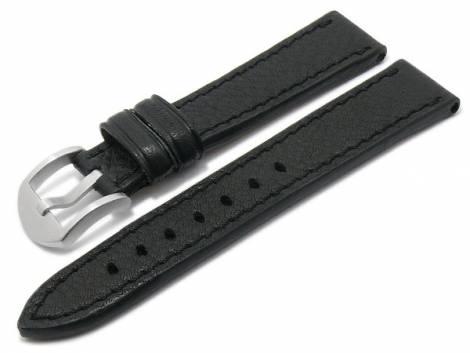 BIO leather watch strap -Tegernsee- 24mm black grained stitched by RIOS (width of buckle 22 mm) - Bild vergrößern