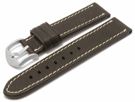 BIO leather watch strap -Starnberg- 24mm dark brown grained light stitching by RIOS (width of buckle 22 mm) - Bild vergrößern