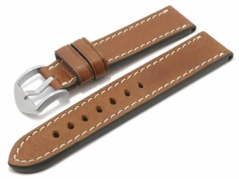 BIO leather watch strap -Starnberg- 24mm light brown grained light stitching by RIOS (width of buckle 22 mm) - Bild vergrößern
