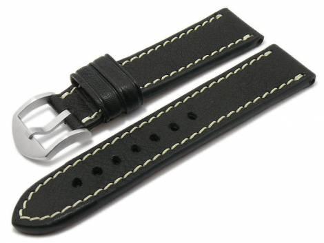 BIO leather watch strap -Starnberg- 24mm black grained light stitching by RIOS (width of buckle 22 mm) - Bild vergrößern