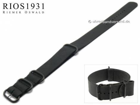 Watch strap -NATO Riga- 20mm black leather vintage look one piece strap by RIOS - Bild vergrößern