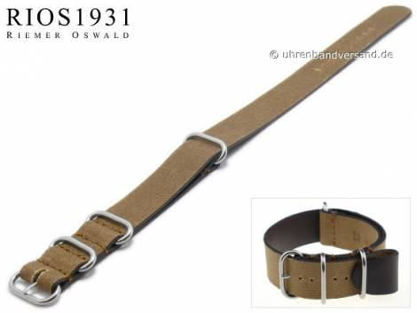 Watch strap -NATO Sofia- 24mm brown canvas/leather vintage look one piece strap by RIOS - Bild vergrößern