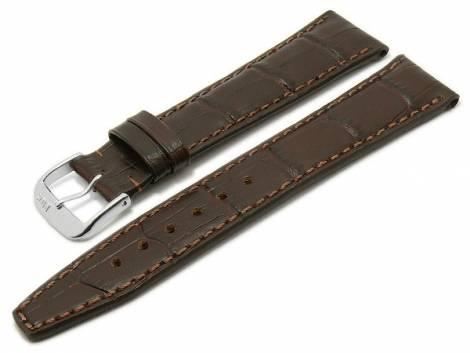 Watch strap -Dallas- 20mm dark brown leather alligator grain stitched by RIOS (width of buckle 18 mm) - Bild vergrößern