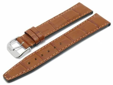 Watch strap -Dallas- 20mm light brown leather alligator grain stitched by RIOS (width of buckle 18 mm) - Bild vergrößern