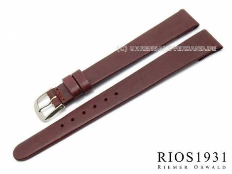 Watch strap -Diplomat Clip- XL 12mm fixed bars auburn smooth g. leather RIOS (width of buckle 10 mm) - Bild vergrößern