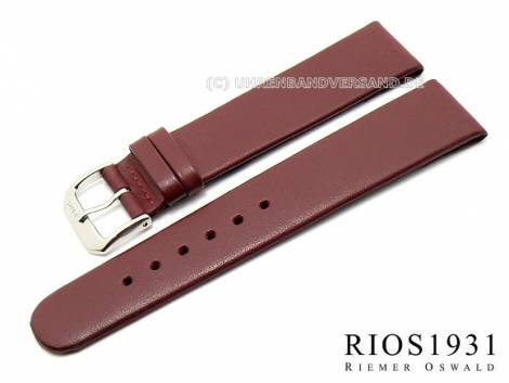 Watch strap -Diplomat Clip- XL 18mm fixed bars auburn smooth g. leather RIOS (width of buckle 16 mm) - Bild vergrößern