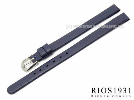 Watch strap -Diplomat Clip- 06mm fixed bars blue smooth gen. leather RIOS (width of buckle 06 mm) - Bild vergrößern