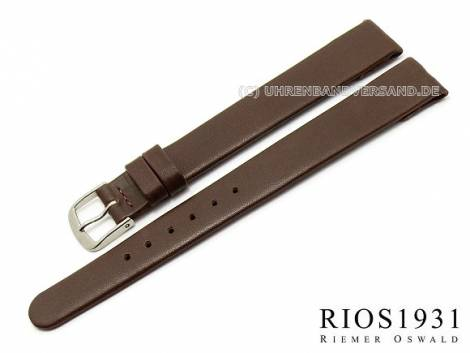 Watch strap -Diplomat Clip- XL 10mm fixed bars d.brown smooth g. leather RIOS (width of buckle 08 mm) - Bild vergrößern