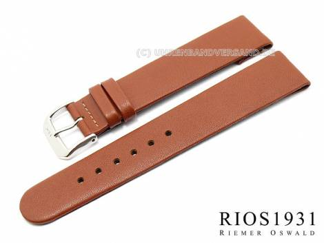Watch strap -Diplomat Clip- XS 16mm fixed bars l. brown smooth leather RIOS (width of buckle 14 mm) - Bild vergrößern