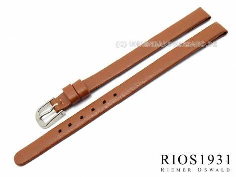 Watch strap -Diplomat Clip- 08mm fixed bars l. brown smooth gen. leather RIOS (width of buckle 08 mm) - Bild vergrößern