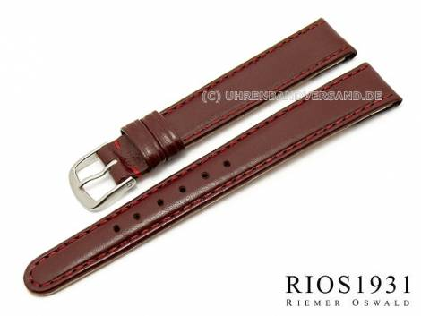 Watch strap -Arizona Clip- 12mm fixed bars auburn stitched RIOS (width of buckle 10 mm) - Bild vergrößern