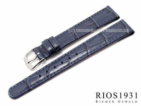 Watch strap -Argentina Clip- 14mm fixed bars blue allig. grain RIOS (width of buckle 12 mm) - Bild vergrößern