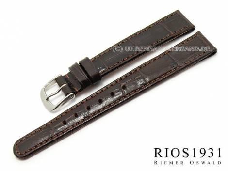 Watch strap -Argentina Clip- 12mm fixed bars d. brown allig. grain RIOS (width of buckle 10 mm) - Bild vergrößern