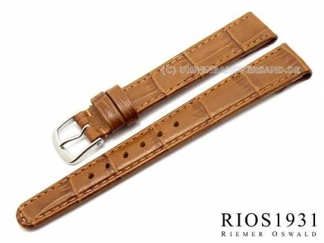 Watch strap -Argentina Clip- 14mm fixed bars l. brown allig. grain RIOS (width of buckle 12 mm) - Bild vergrößern