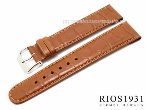 Watch strap -Argentina Clip- 20mm fixed bars l. brown allig. grain RIOS (width of buckle 18 mm) - Bild vergrößern