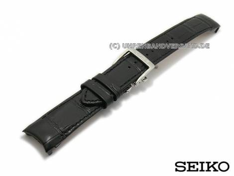 Replacement watch strap SEIKO 20mm black leather alligator grain with curved ends for SNP005 - Bild vergrößern