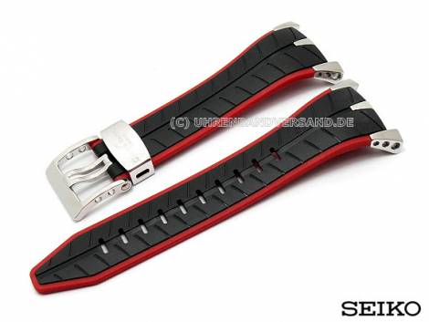 Replacement watch strap SEIKO 22mm silicone black/red special lug ends for SPC009P1 - Bild vergrößern