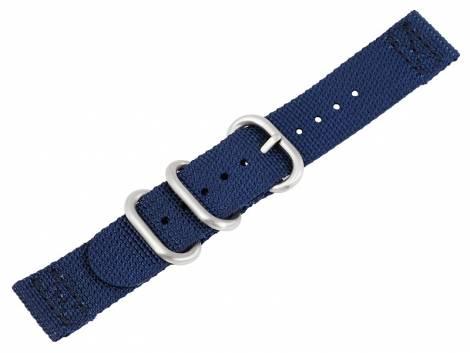 Watch strap 20mm dark blue Nylon/textile military look in ZULU NATO design 2 pieces - Bild vergrößern