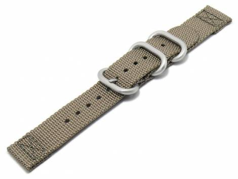 Watch strap 20mm brown beige Nylon/textile military look in ZULU NATO design 2 pieces - Bild vergrößern
