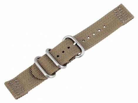 Watch strap 22mm brown beige Nylon/textile military look in ZULU NATO design 2 pieces - Bild vergrößern