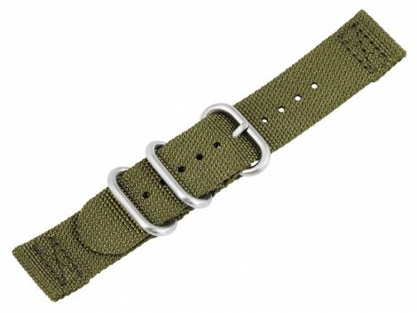 Watch strap 22mm oliv green Nylon/textile military look in ZULU NATO design 2 pieces - Bild vergrößern