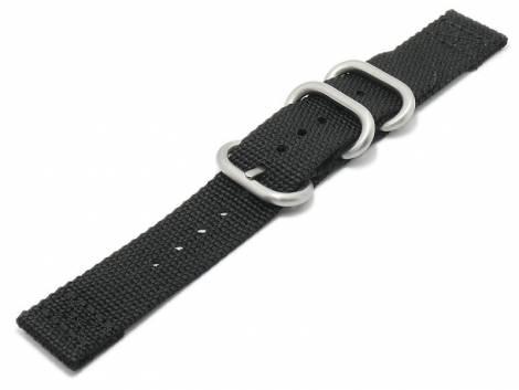 Watch strap 20mm black Nylon/textile military look in ZULU NATO design 2 pieces - Bild vergrößern