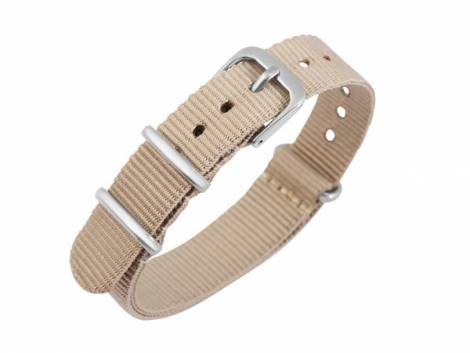 Watch strap 16mm beige Nylon/textile one piece strap in NATO style - Bild vergrößern