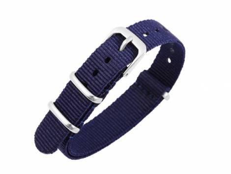 Watch strap 16mm dark blue Nylon/textile one piece strap in NATO style - Bild vergrößern