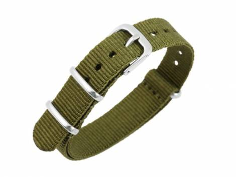 Watch strap 16mm military green Nylon/textile one piece strap in NATO style - Bild vergrößern