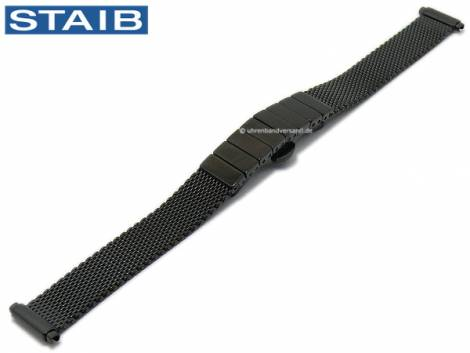 Watch strap 12-15mm black mesh polished fine structure telescopic ends with butterfly clasp by STAIB - Bild vergrößern