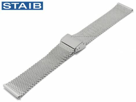 Watch strap 18mm mesh polished medium structure with easy change spring bars by STAIB - Bild vergrößern