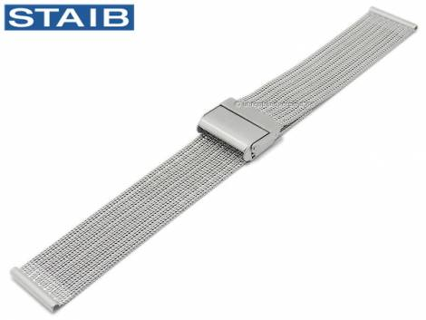 Watch strap 18mm mesh polished fine structure with groove embossing security slide clasp by STAIB - Bild vergrößern