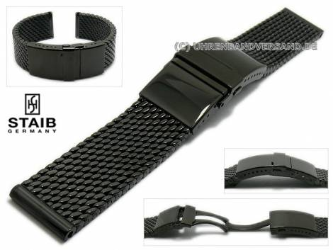 Watch strap 22mm mesh black polished robust structure with security clasp by STAIB - Bild vergrößern