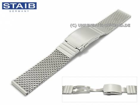 Watch strap 18mm mesh polished robust structure clasp with diver extension by STAIB - Bild vergrößern