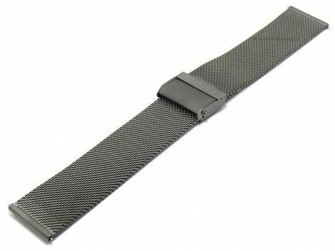 Watch strap 22mm grey/anthracite mesh fine structure easy change spring bars with security clasp - Bild vergrößern