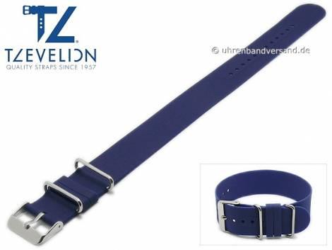 Watch strap 22mm dark blue silicone NATO look one piece strap by TZEVELION - Bild vergrößern