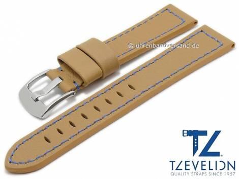 Watch strap 20mm light brown leather smooth blue stitching by TZEVELION (width of buckle 18 mm) - Bild vergrößern