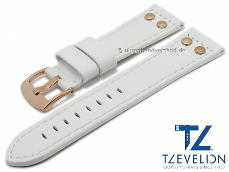 Watch strap 24mm white leather aviator look rosé golden rivets light stitching by TZEVELION (width of buckle 22 mm) - Bild vergrößern