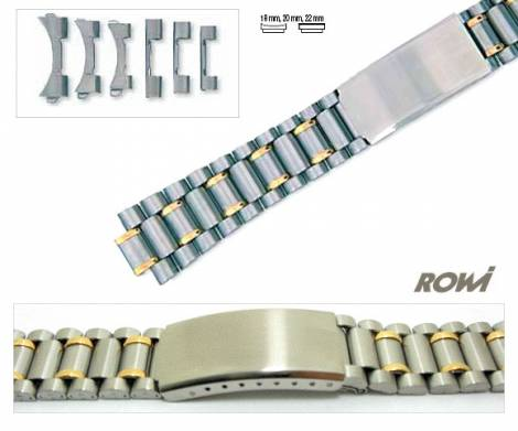 Watch band stainless steel dual tone 18-22mm multiple ends curved/straight sporty deployant clasp - Bild vergrößern