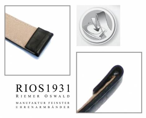 Watch strap -Diplomat Clip- XL 20mm fixed bars black smooth g. leather RIOS (width of buckle 18 mm) - Bild vergrößern