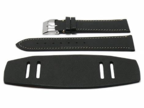 Watch strap -Bund Bravus- 22mm black leather with leather pad by ATELIER FERRER CHANNEL (width of buckle 20 mm) - Bild vergrößern