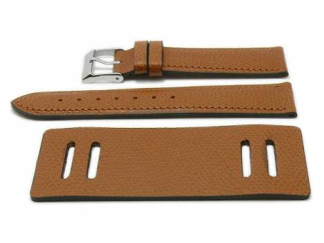 Watch strap -Bund Bullhead- 20mm light brown leather with leather pad by ATELIER FERRER CHANNEL (width of buckle 18 mm) - Bild vergrößern