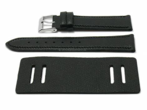 Watch strap -Bund Bullhead- 22mm black leather with leather pad by ATELIER FERRER CHANNEL (width of buckle 20 mm) - Bild vergrößern